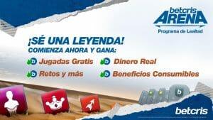 Betcris arena - Programa de lealtad. ¡Se una leyenda! Comienza ahora y gana: Jugadas Gratis, Dinero Real, Retos y más, beneficios consumibles